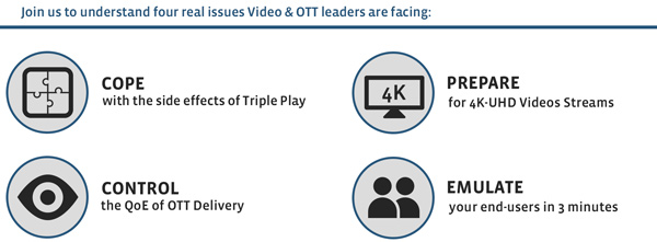 Join us to understand four real issues Video & OTT Leaders are facing: / COPE with side effects of Triple Play / CONTROL the QoE of OTT Delivery / PREPARE for 4K-UHD Videos Streams / EMULATE your end-users in 3 minutes